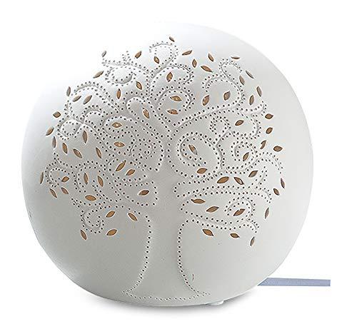 GILDE Lampe Kugel Lebensbaum - aus Porzellan mit Lochmuster in weiß D 16 cm