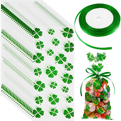 100 Pieces Clover Cellophane Bags Shamrock Patterns Cellophane Bags with a Roll of Green Ribbon Treat Bags Clover Party Supplies for Chocolate Candy Snacks Cookies Little Toys