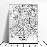 linbindeshoop Elche Pamplona Vitoria-Gasteiz Madrid Albacete Santander Oviedo España Lienzo Arte Mapa Póster (LQ-317) 40x60cm Sin Marco