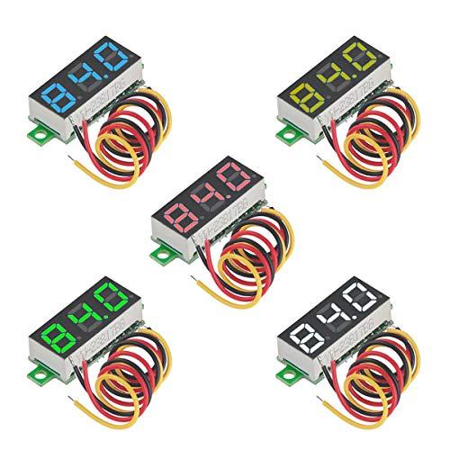 MakerHawk 5 stücke Mini Digital Voltmeter DC 0,28 Zoll DREI-zeilen DC 0-100 V Mini Digital Voltmeter Messgerät Tester LED-anzeige Verpolungsschutz und Genaue Druckmessung 5 Farben