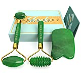 3 in 1 Jade Roller for Face and Gua Sha Set - Helps Reducing Drainage Puffiness Wrinkles Authentic Jade Face Massager Kit - Ridged Roller and Carrying Pouch