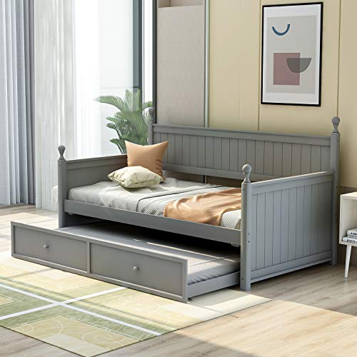 Wood Daybed with Trundle, Solid Wood Trundle Daybed Twin Size Bed Frame for Kids/Adults, No Box Spring Needed, Gray