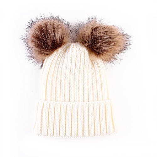 Sombrero Cálido de Invierno para Bebé, Gorro de Punto para Bebé Recién Nacido, Gorro de Ganchillo para Niño Pequeño (Blanco)