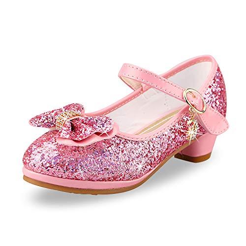 Niñas Niños Princesa Zapatos Sandalia Verano Zapatillas Fiesta Arco Rhinestone Lentejuelas Zapatitos de Tacón de Vestir de Chicas Sandalias para Niñas 3-14 Años