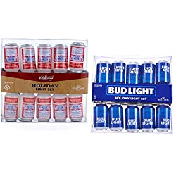 Budweiser and Bud Light Beer Can Lights String (Bud/Bud Light Assortment Two Pack (20 Lights))