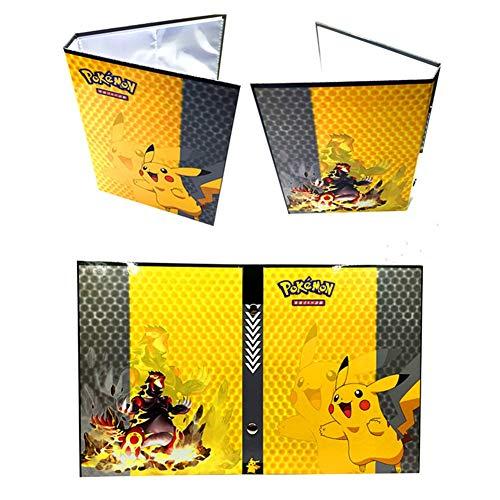Pokemon Kartenhalter, Pokemon Karten GX EX Trainer Alben, Sammelkartenalben, 20 Seiten Kann bis zu 160 Karten aufnehmen, (Pikachu Cover)