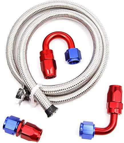 2M AN10 / Dash8 Dieselschlauch Meterware Benzinschlauch Kraftstoffschlauch Dieselleitung Stahlflexschlauch Benzinleitung oelleitung Flexschlauch Benzinschlauch mit 3 STK. AN8 Kraftstoffleitung Ersatz