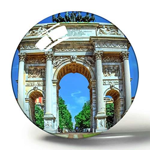 Hqiyaols Souvenir Italia Arco Della Pace 3D Imán de Nevera Colección de Recuerdos Regalo de Viaje Círculo Cristal Imanes de Nevera