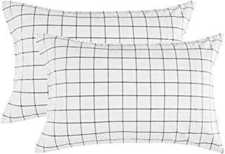 NANKO Grid Bed Pillow Case Set (2 Pack), White Grid Plaid Geometric Pattern Printed Pillowcases/Pillow Shams with Zip for Modern Duvet Cover/Bed Sheets Set- 20x30 inch Standard Queen Size