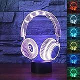 3D Nachtlicht 3D Dj Kopfhörer Illlusion Lampe Studio Monitor Headset Hifi Musik Kopfhörer 3D Nachtlicht Farbe Schlafzimmer Tischlampe Home Decor Led