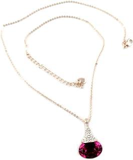 Lily-Crystal [P7499] - Collana fatta a mano 'Bohème' rosa fucsia oro rosa - 23x14 mm.