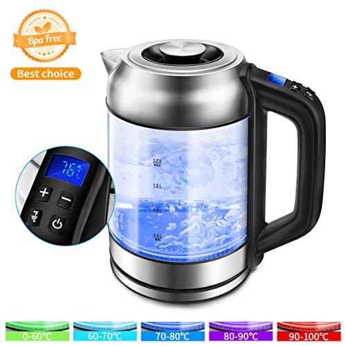 Morpilot Glas Wasserkocher Edelstahl,1.7 Liter Elektrischer Wasserkessel mit LED Innenbeleuchtung, Automatische Abschaltung Durch Strix Contoller, BPA Frei, Trockenlaufschutz, 2200W (Transparent 1)