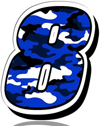 Biomar Labs® Número 8 Camuflaje Militar Azul Vinilo Adhesivo Pegatina Coche Auto Motocross Moto Sport Start Racing Tuning N 218