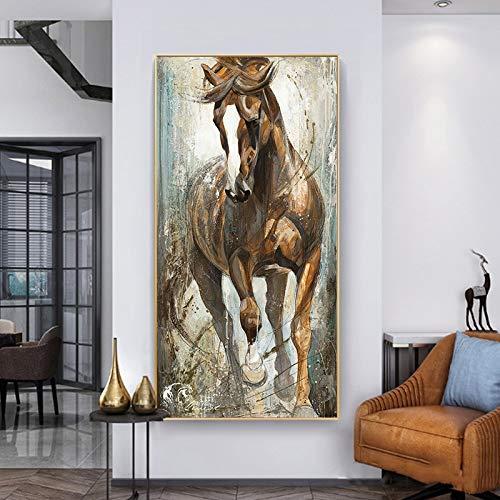 KWzEQ Leinwanddrucke Vintage Pferdebilder Poster und Heimdekoration für Wohnzimmer40x80cmRahmenlose Malerei