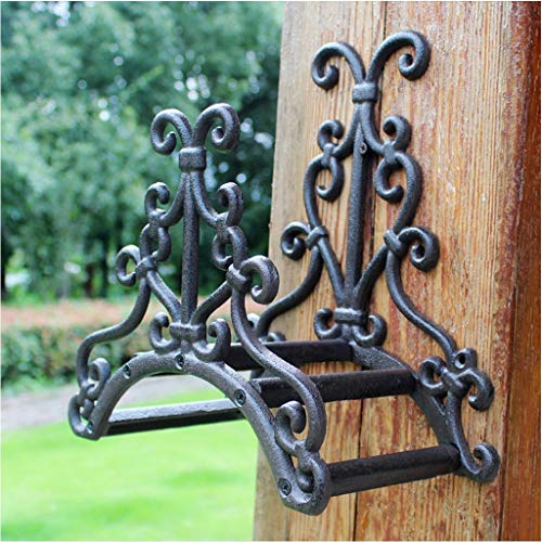 MJIA Cast Iron Garden Hose Holder, Wall Mounted Water Hose Hanger, Decorative Indoor Outdoor Hose Rack Reel for Outside Yard Hose Storage
