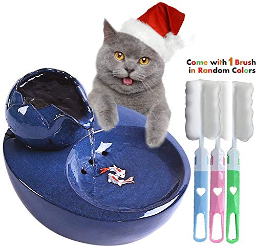 Jyipsonm Ceramic Cat Water Fountain Automatic Pet Drinking Fountain Electric Dog Water Dispenser Ultra Quiet Water Bowl for Cats and Dogs 51 OZ- Blue