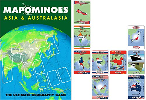 MAPOMINOES Asia and AUSTRALASIA – Fun and Educational Geography Card Game About Connecting Countries in Asia & Australasia. for Kids Teens and Adults. Like Dominoes with maps.