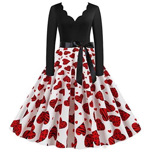 YAYAKI Kleider Damen Valentinstag Elegant Langarm V-Ausschnitt Kleid Bequem Große Schaukel Vintage Cocktailkleid Party Swing Kleid Club Festival Karneval Party Rock Dress(DE.34~46)(Weiß-1,S)