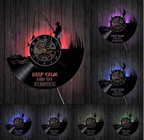 Vinyl Record Wanduhr Halten Sie ruhig und Angeln Fisherman Funny Wall Clock River Fishing Vinyl Record Wanduhr Fishing Lover Art Clock 30CM