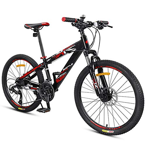 NENGGE Boys Mountain Bikes, Mountain Trail Bikes with Dual Disc Brake, Front Suspension Aluminum Frame All Terrain Mountain Bicycle,Black,24 inch 27 Speed