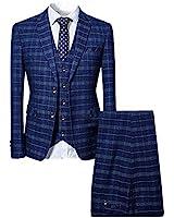 Mens 3 Piece Slim fit Checked Suit Blue/Black Single Breasted Vintage Suits,Blue,XX-Large