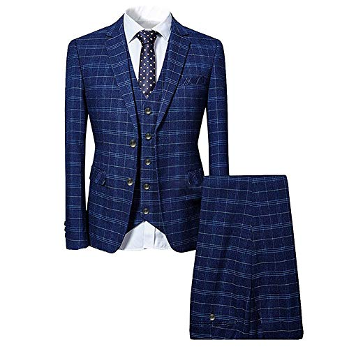 P&L Men's Suits 2-Piece Classic Fit Single Breasted 2 Buttons Blazer & Trousers Suit Black