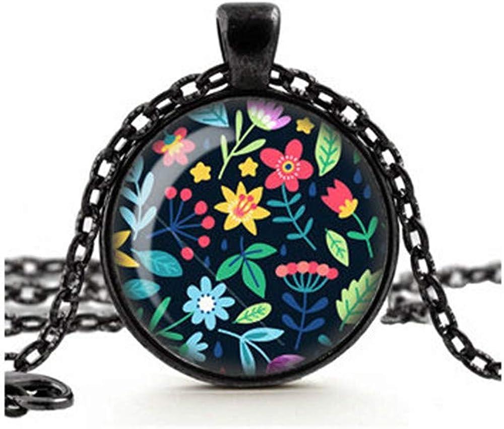 Dandelion Flower Necklace, Boho Pendant, Rainbow Summer Flowers, Colorful Flowers Pendant, Floral Jewelry, Glass Cameo Pendant