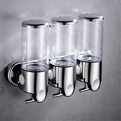 Cuutiik Duschspender, für Hotel Home Seifenspender Wandhalterung Bad Dusche Dispenser 3 Kammer, klar