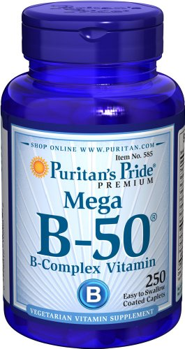 Puritan's Pride Vitamin B-50 Complex Supports Energy Metabolism, 250 Caplets, by Puritan's Pride, 250 Count (Pack of 1) (585)