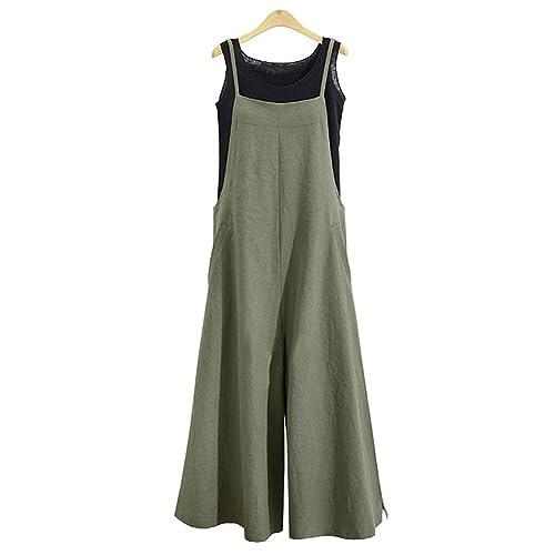 af8ed17c9534 Jumpsuits for Women Casual Cotton Jumpsuit Long Suspender Twin Side Bib  Wide Leg Overalls Pants Large