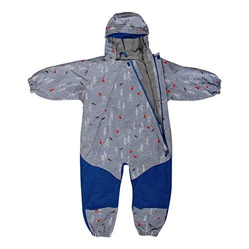 Kids Water-Proof Fleece-Lined Rain Suit One-Piece Hooded (The Rockies,3T)