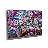 Nerdinger Abstract Graffiti - Kunstdruck auf Leinwand (75x50 cm) zum Verschönern Ihrer Wohnung. Verschiedene Formate auf Echtholzrahmen. Höchste Qualität.