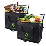 Insulated Shopping Bags For Groceries,Heavy Duty Cooler Tote Bags,Insulated Reusable Grocery Bags with Zipper,Bottom Support, Collapsible, Stands Upright to Keep Foods Cold or Hot(XL/Black/2 pack)