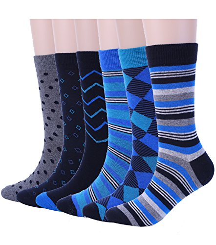 Mens Blue Dress Crew Socks Funky Argyle Stripe Patterned Designs 6 Pair, One Size