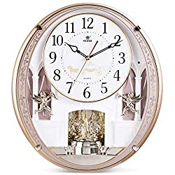 Musical Motion Wall Clock with Rotating Pendulum, Decorative Wall Clock, 18 Melodies, for Home, Hotel, Library or Church Decor.