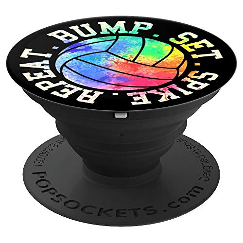 Bump Set Spike Repeat Funny Volleyball PopSockets Grip and Stand for Phones and Tablets