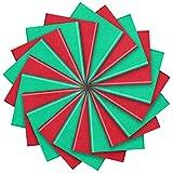 100 Hojas de Papel de Seda de Navidad Hoja de Papel de Envoltura de Vacaciones para Decoración de Envoltura DIY de Navidad (Rojo y Verde)