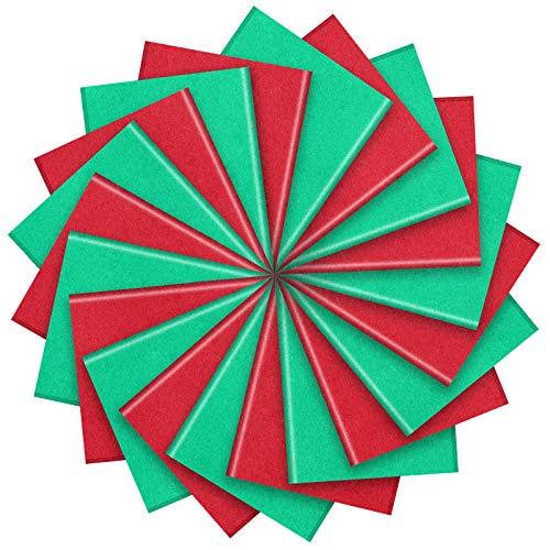 100 Hojas de Papel de Seda de San Valentín Hoja de Papel de Envoltura de Vacaciones para Decoración de Envoltura DIY de San Valentín (Rojo y Verde)