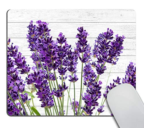 Smooffly Office Mouse Pad Custom,Retro Style Purple Lavender Flowers on Vintage Wood Background Personality Desings Gaming Mouse Pad 9.5 X 7.9 Inch (240mmX200mmX3mm)