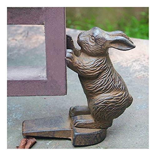鋳鉄のバニードアストップ装飾ドアストッパーウェッジのパッド付きアンチスクラッチフェルトボトムビンテージデザイン// 7 (Color : Brown)