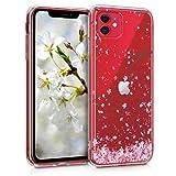 kwmobile Hülle kompatibel mit Apple iPhone 11 - Hülle Silikon transparent Kirschblütenblätter Rosa Dunkelbraun Transparent