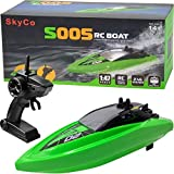 Remote Control Boats for Pools and Lakes S005 Rc Boat for Kids or Adults, Outdoor Adventure Pool Toys, High Speed Remote Control Boat Toy for Boys and Girls White
