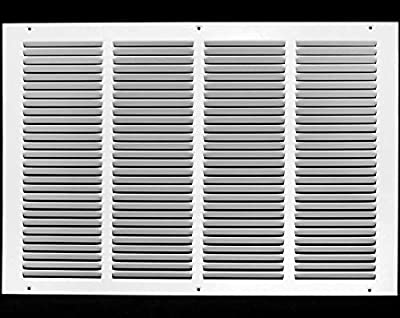 """20""""w X 12""""h Steel Return Air Grilles - Sidewall and Ceiling - HVAC Duct Cover - White [Outer Dimensions: 21.75""""w X 13.75""""h]"""