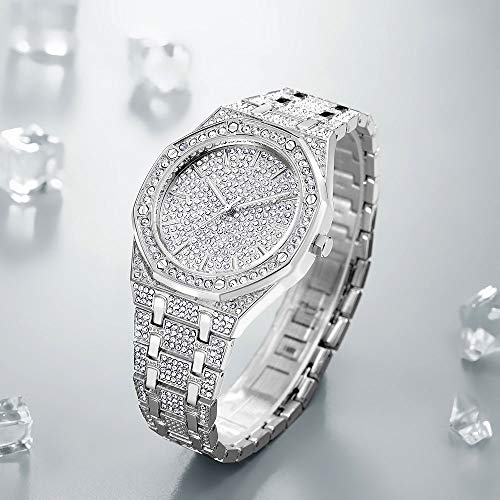 Nisake Iced Out Watches with Bling Bling Cuban Bracelet Full Diamond Watches & Bracelet Hip Hop Jewelry Set 2PCS