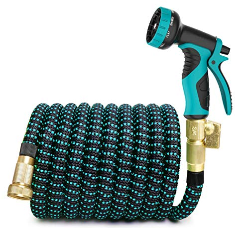LONGTA 25FT Garden Hose with 9 Function,Brass Connectors, Extra Strength Fabric, Lightweight Expanding Hose,Best Choice for Watering and Washing (Blue)