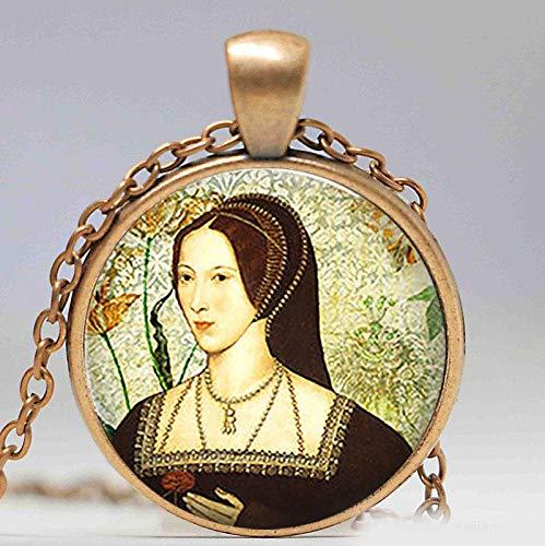 Immagine artistica Anne Boleyn Ciondolo Retrò Rotondo Tudor Cupola di Vetro Ciondolo Donna Ragazza Moda Gioielli Regalo di Natale Catena Lunga