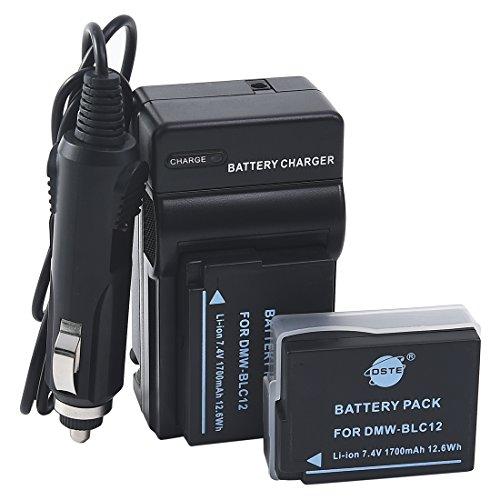 DSTE Replacement for 2x DMW-BLC12 Battery + DC114 Travel Charger Kit Compatible Panasonic Lumix DMC-G5 G6 G7 GH2 GX8 FZ200 FZ2500 FZ2000 DC-G90 DC-G95 Leica Q Camera as BP-DC12E Compatible Sigma BP-51