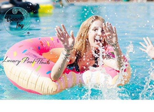 Beautyful Center Beach Toy ® - Bouée géante Gonflable Donut Fraise Rose - XXL -110 cm diamètre - Stock en France