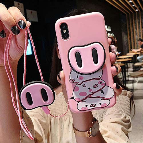 IPhone XR Case Met Leuk Varken Neus Pop Socket Cell Phone Cases Stand Case Back Cover Met Pop Up Holder met draagkoord (Color : 02, Size : IPhone6s)