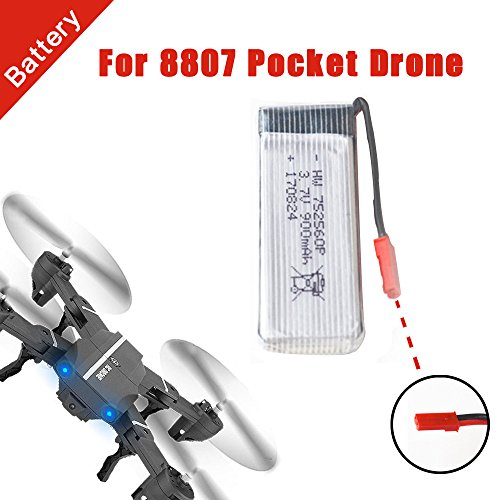 Dapei Drohne Akku Batterie 3,7V 900mAh für 8807W Faltbar Selfie Pocket Drone Quadcopter Hubschrauber Wiederaufladbar Lipo Batterie
